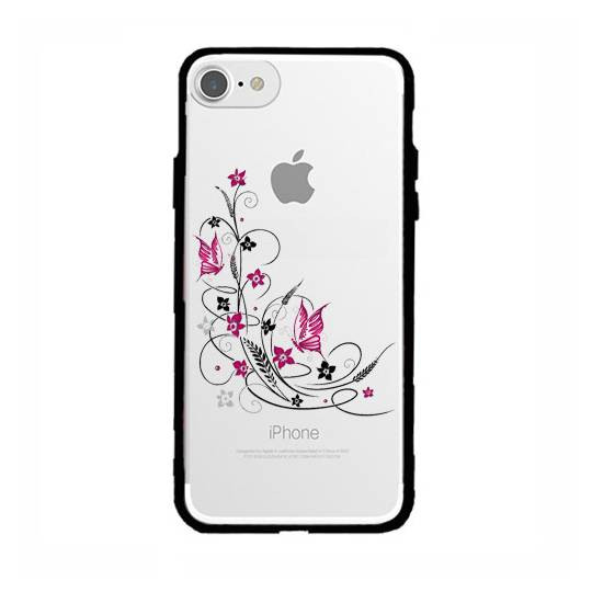 Coque transparente magnetique Iphone 6 / 6s feminine fleur papillon
