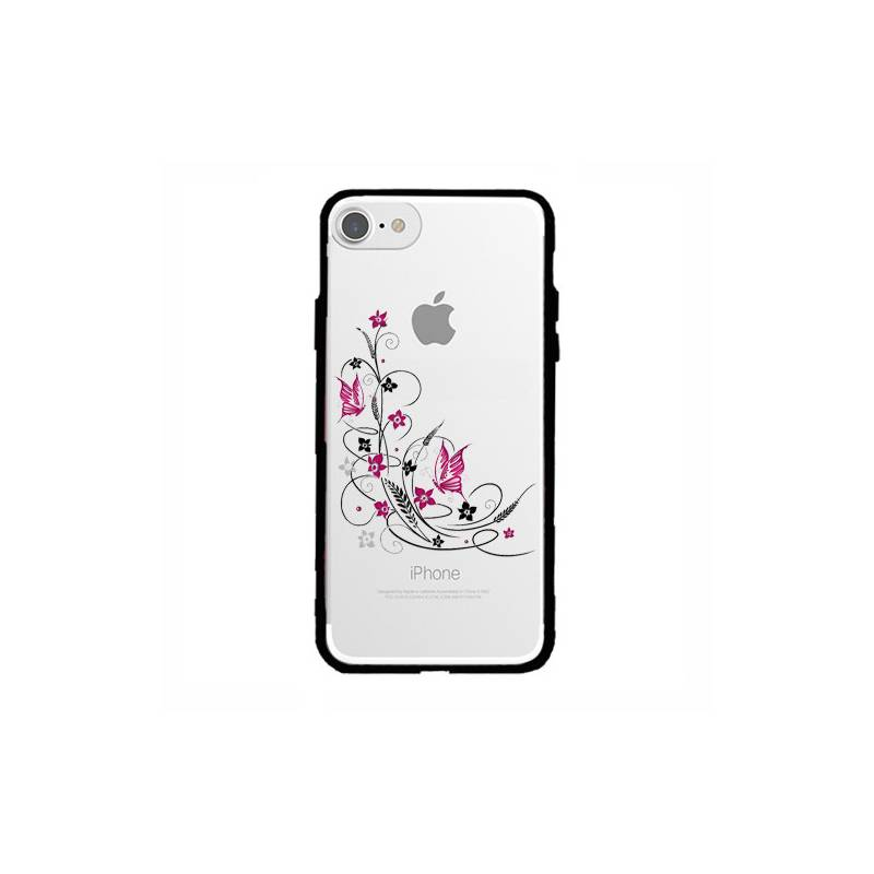 Coque transparente magnetique Apple Iphone 6 / 6s feminine fleur papillon