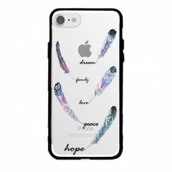 Coque transparente magnetique Apple Iphone 6 / 6s feminine plume couleur