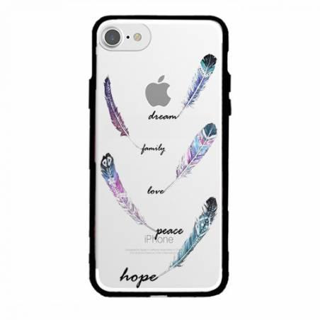 Coque transparente magnetique Apple Iphone 6 / 6s feminine plume couleur