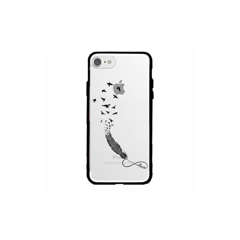 Coque transparente magnetique Apple Iphone 6 / 6s feminine plume infini
