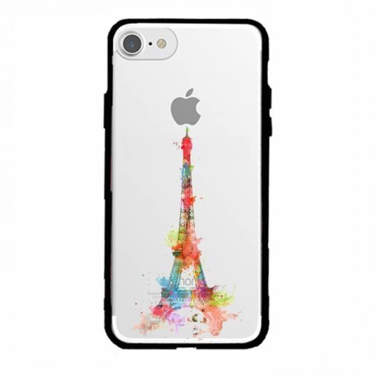Coque transparente magnetique Iphone 6 / 6s Tour eiffel colore