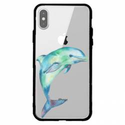 Coque transparente magnetique Apple Iphone X / XS Dauphin Encre