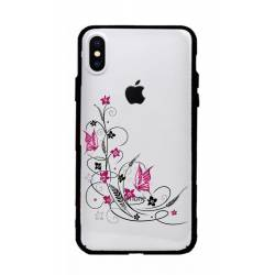 Coque transparente magnetique Apple Iphone X / XS feminine fleur papillon