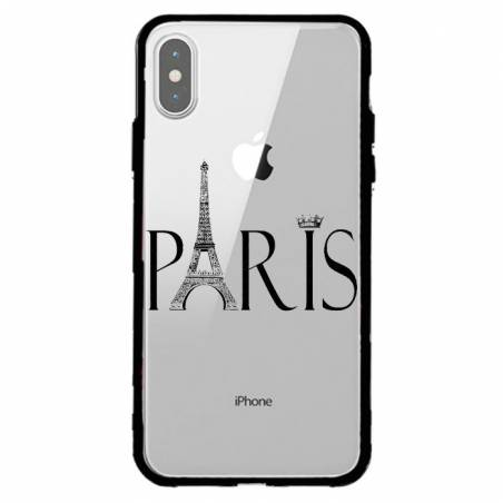 Coque transparente magnetique Apple Iphone X / XS Paris noir