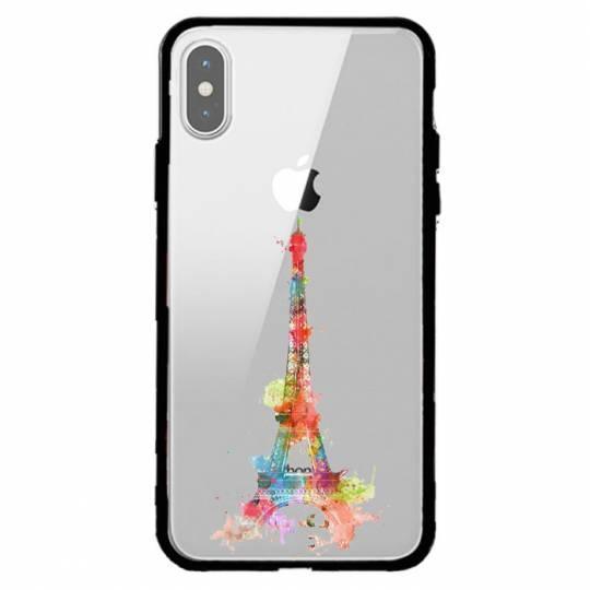 Coque transparente magnetique Iphone XS Max Tour eiffel colore