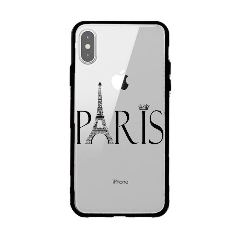 Coque transparente magnetique Iphone XS Max Paris noir
