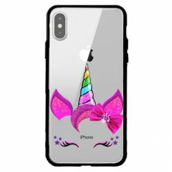 Coque transparente magnetique Apple Iphone XS Max Licorne paillette