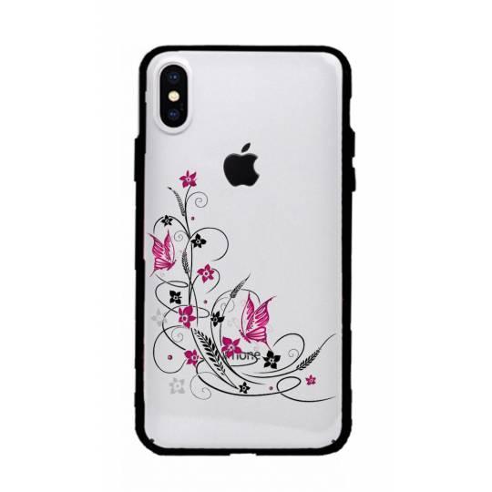Coque transparente magnetique Iphone XS Max feminine fleur papillon