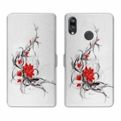 RV Housse cuir portefeuille Huawei Honor 10 Lite / P Smart (2019) fleurs