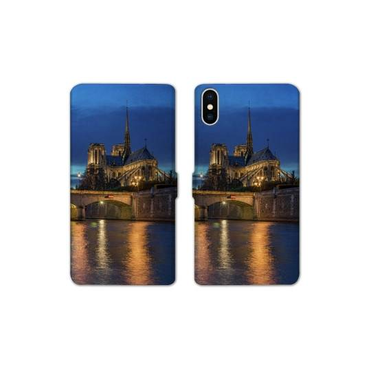 RV Housse cuir portefeuille Iphone XS Max Monument