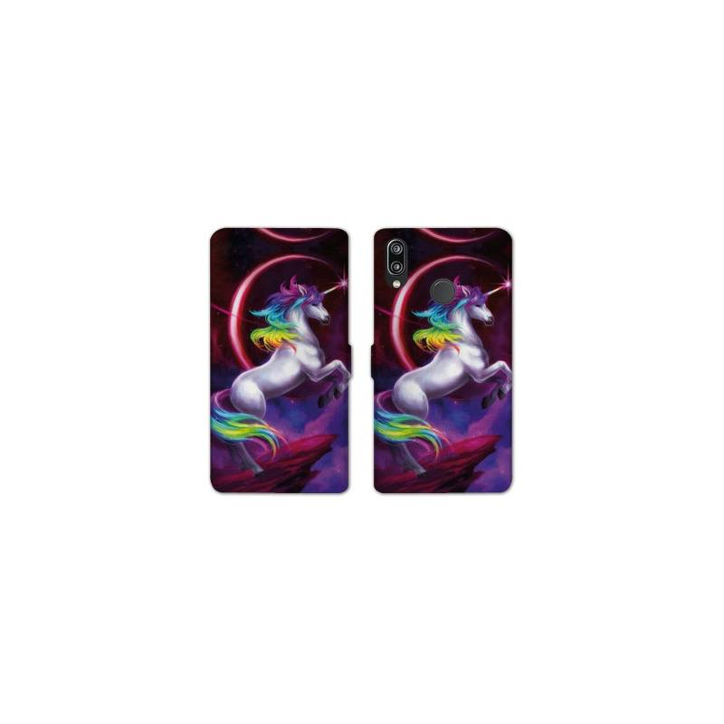 RV Housse cuir portefeuille pour Samsung Galaxy A40 Licorne