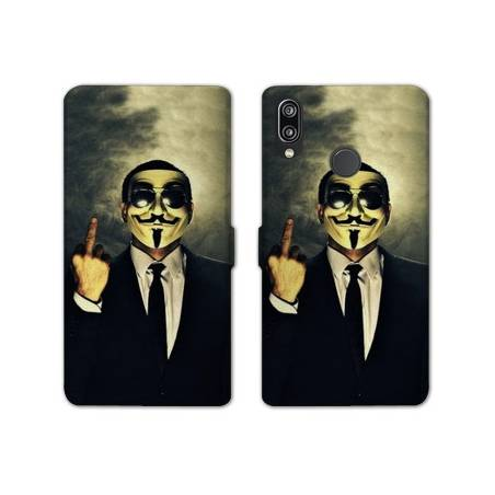 RV Housse cuir portefeuille Samsung Galaxy A40 Anonymous