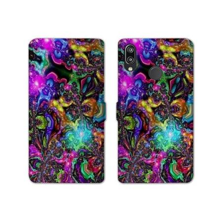 RV Housse cuir portefeuille Huawei Y6 (2019) / Y6 Pro (2019) Psychedelic