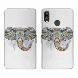 RV Housse cuir portefeuille Huawei Y6 (2019) / Y6 Pro (2019) Animaux Ethniques