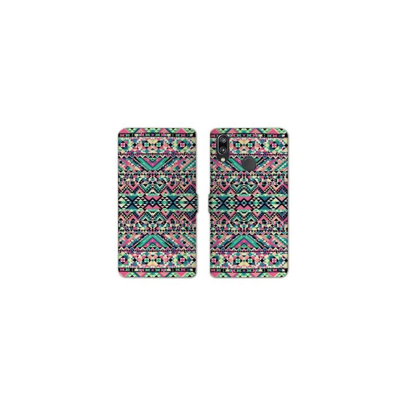 RV Housse cuir portefeuille Huawei Y6 (2019) / Y6 Pro (2019) motifs Aztec azteque