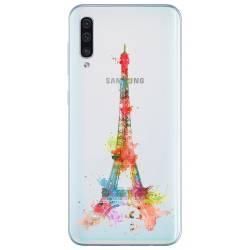 Coque transparente Samsung Galaxy A50 Tour eiffel colore