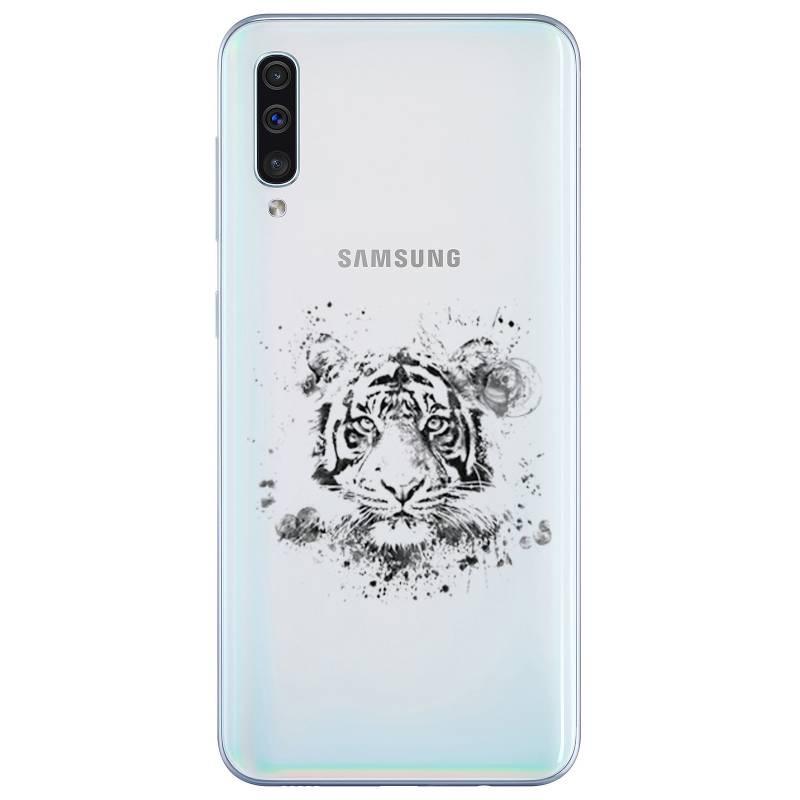 Coque transparente Samsung Galaxy A50 tigre