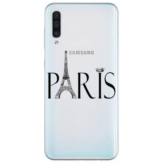 Coque transparente Samsung Galaxy A50 Paris noir