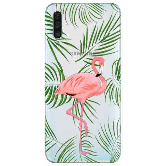 Coque transparente Samsung Galaxy A50 Flamant Rose
