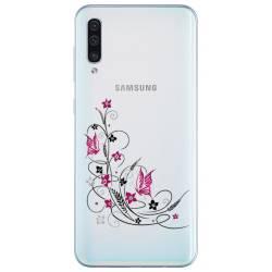 Coque transparente Samsung Galaxy A50 feminine fleur papillon