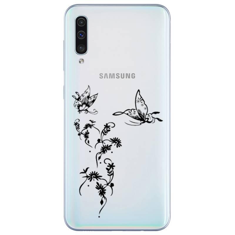 Coque transparente Samsung Galaxy A50 feminine envol fleur
