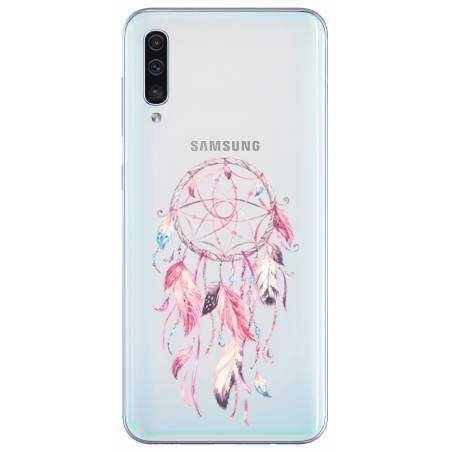 Coque transparente Samsung Galaxy A50 feminine attrape reve rose