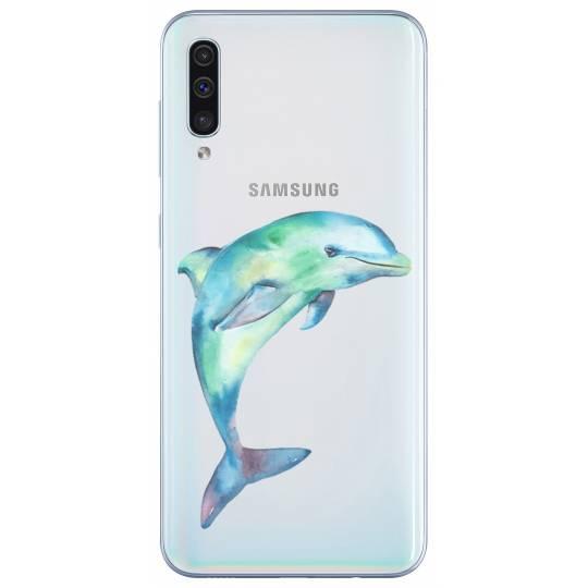 Coque transparente Samsung Galaxy A50 Dauphin Encre