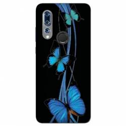 Coque Wiko View 3 papillons bleu