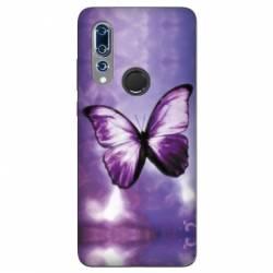Coque Wiko View 3 papillons violet et blanc