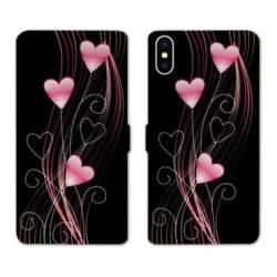 Housse cuir portefeuille Samsung Galaxy A10 Cœur rose Montant