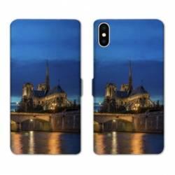 Housse cuir portefeuille Samsung Galaxy A10 France Notre Dame Paris night