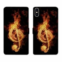 Housse cuir portefeuille Samsung Galaxy A10 Musique clé sol feu N