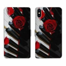 Housse cuir portefeuille Samsung Galaxy A10 Musique Rose Piano