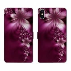 Housse cuir portefeuille Samsung Galaxy A10 fleur violette montante