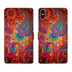 Housse cuir portefeuille Samsung Galaxy A10 fleur psychedelic