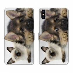 Housse cuir portefeuille Samsung Galaxy A10 Chien vs chat