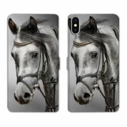 Housse cuir portefeuille Samsung Galaxy A10 Cheval