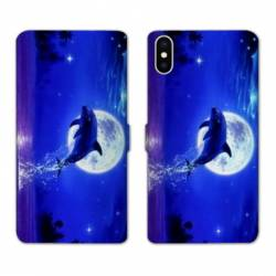 Housse cuir portefeuille Samsung Galaxy A10 Dauphin lune