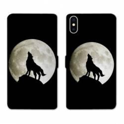 Housse cuir portefeuille Samsung Galaxy A10 Loup Noir