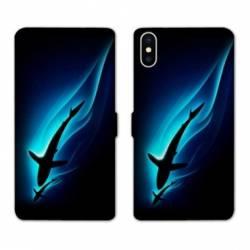 Housse cuir portefeuille Samsung Galaxy A10 Requin Noir
