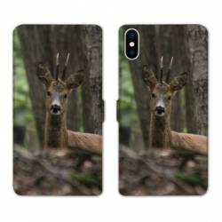 Housse cuir portefeuille Samsung Galaxy A10 chasse chevreuil Bois