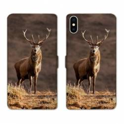 Housse cuir portefeuille Samsung Galaxy A10 chasse chevreuil Blanc