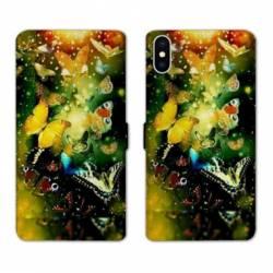 Housse cuir portefeuille Samsung Galaxy A10 papillons papillon jaune