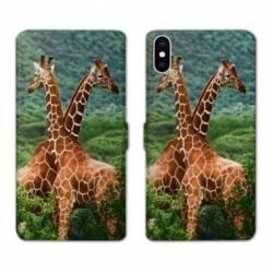 Housse cuir portefeuille Samsung Galaxy A10 savane Girafe Duo