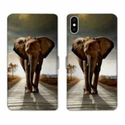 Housse cuir portefeuille Samsung Galaxy A10 savane Elephant route