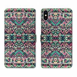Housse cuir portefeuille Samsung Galaxy A10 motifs Aztec azteque rose