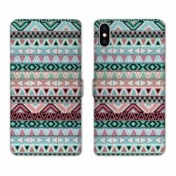 Housse cuir portefeuille Samsung Galaxy A10 motifs Aztec azteque turquoise