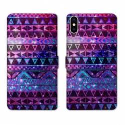 Housse cuir portefeuille Samsung Galaxy A10 motifs Aztec azteque violet