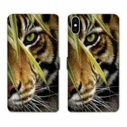 Housse cuir portefeuille Samsung Galaxy A10 œil tigre
